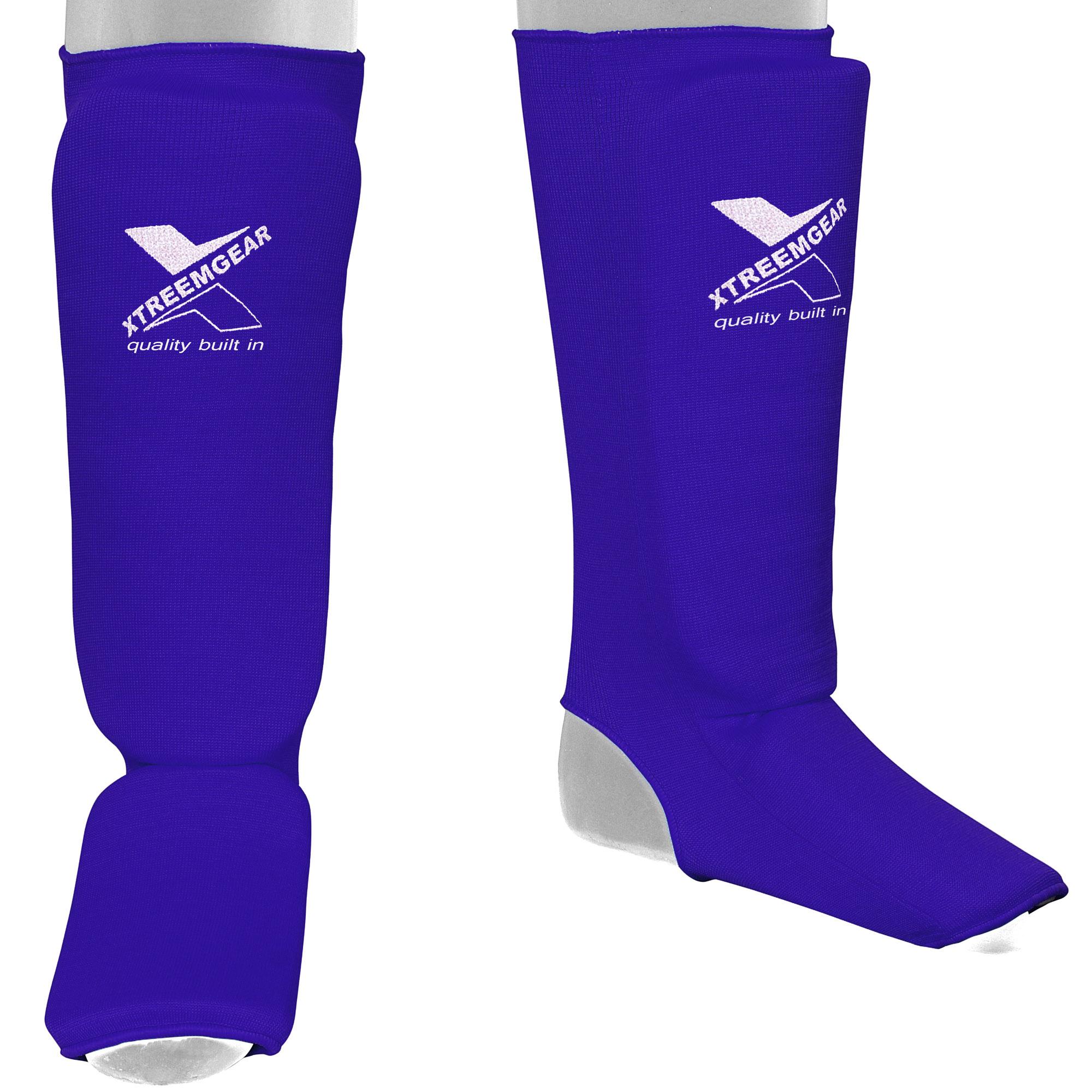 Shin Pad Leg & Foot Guards Muay Thai Kick Boxing Guard Protector,Blue SP1 (XL)