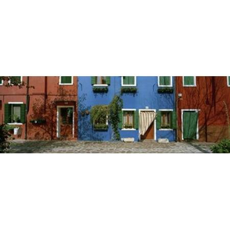 Facade Of Houses Burano Veneto Italy Poster Print
