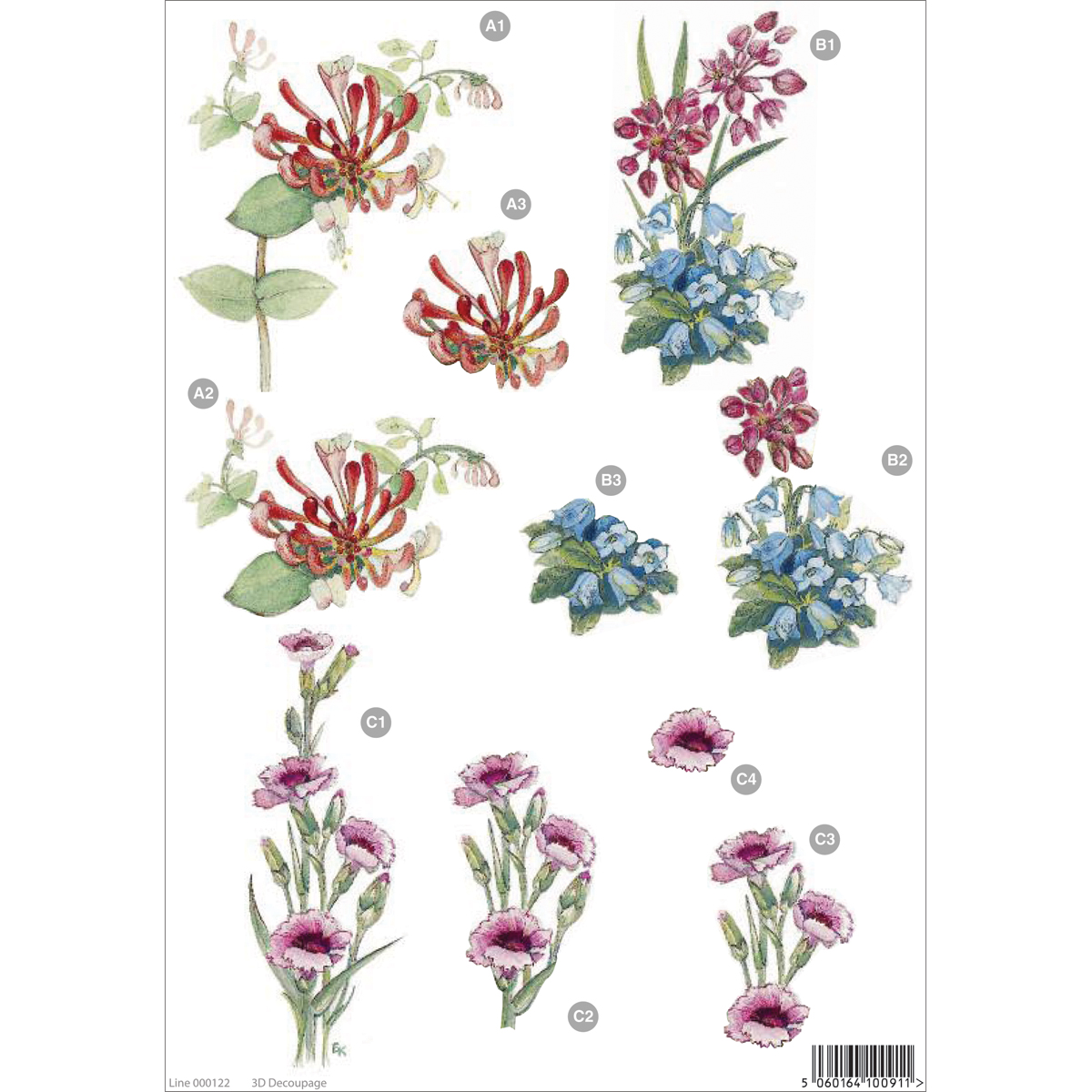 "3D Die-Cut Decoupage Sheet 8.3""X11.69""-Floral: Spike Flower, Blue Bell & Pinks"