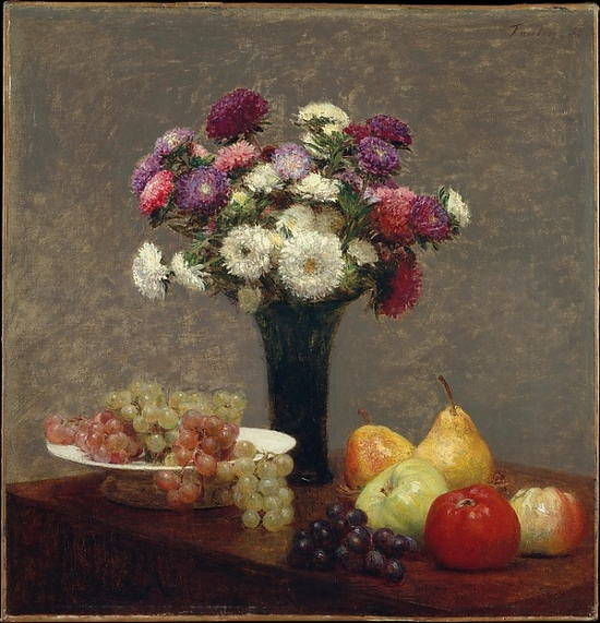 "Asters and Fruit on a Table Poster Print by Henri Fantin-Latour (French Grenoble 1836  ""1904 Buré) (18 x 24)"
