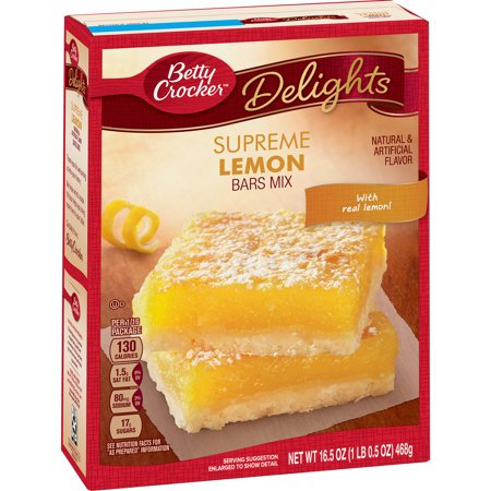 (2 Pack) Betty Crocker Delights Supreme Lemon Dessert Bar Mix, 16.5 oz
