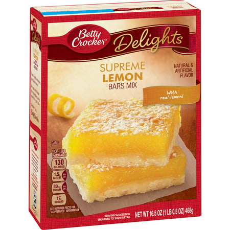 - (2 Pack) Betty Crocker Delights Supreme Lemon Dessert Bar Mix, 16.5 oz