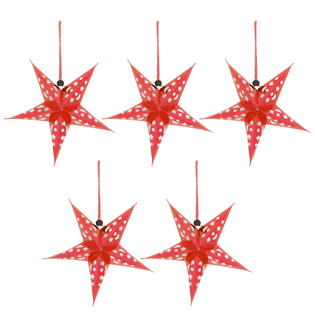 Unique Bargains Christmas Star Designed DIY Handcraft Door Tree Hanging Ornament Red 5pcs
