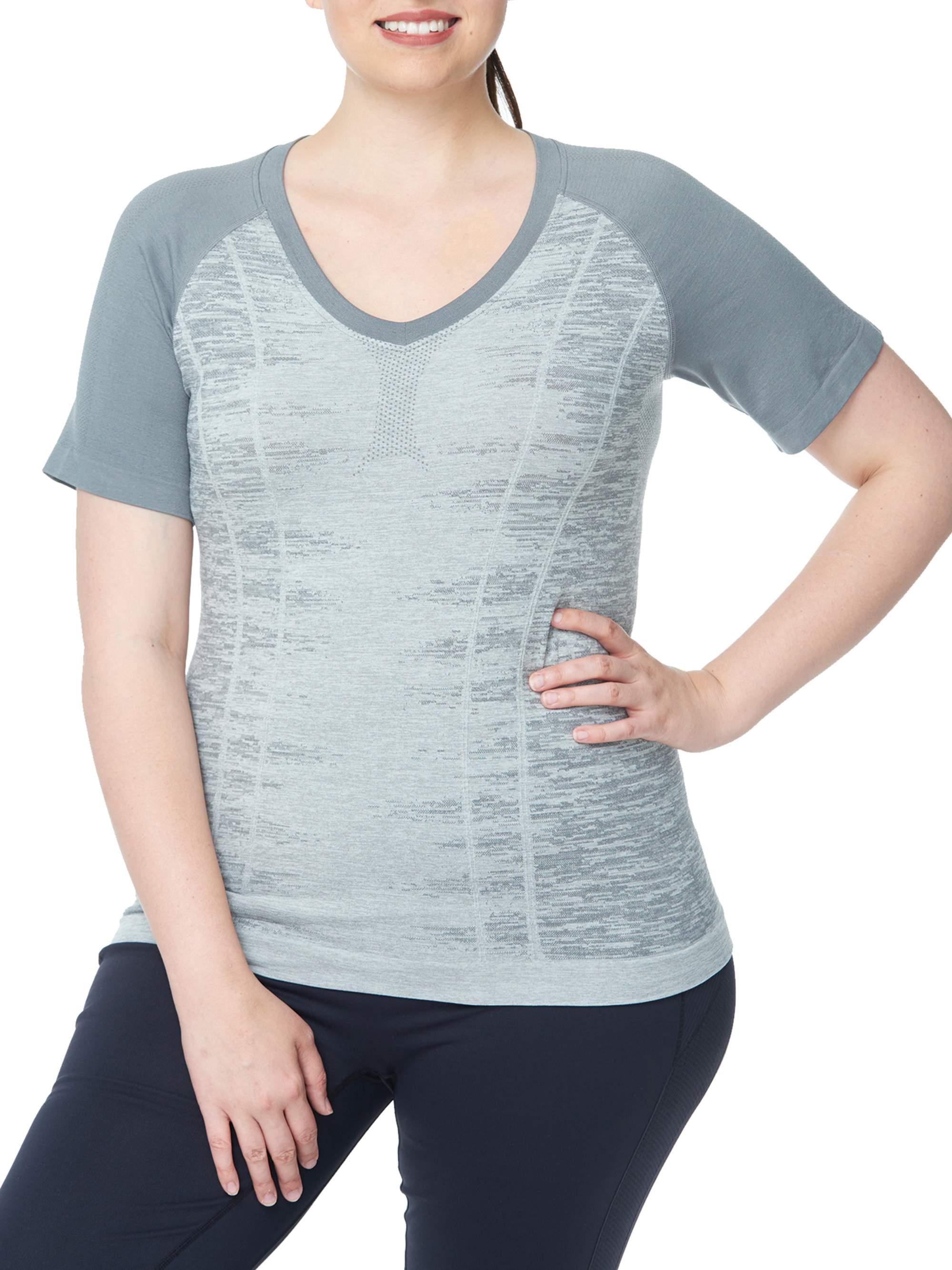 Under Control Women's Plus Super Soft Lux Seamless V Neck Raglan Short Sleeve Top