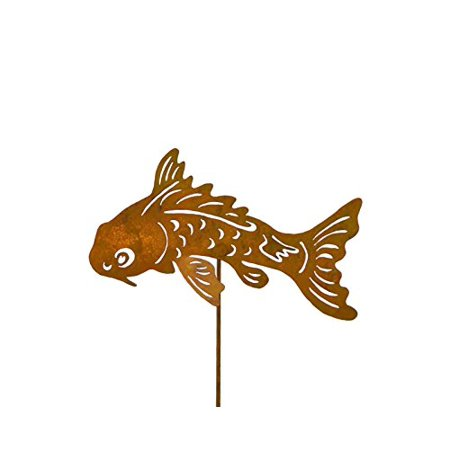 Koi Fish Metal Yard Stake, Whimsical Garden Idea, Metal Garden Art, Outdoor Lawn and Patio Decor