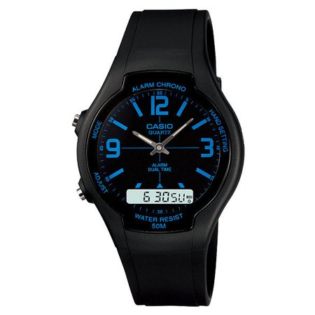 Casio AW90H-2BV Men's Black Dial Blue Index Analog Digital Dual Time Zone Watch 2nd Time Zone Black Dial