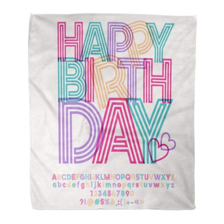 ASHLEIGH Throw Blanket Warm Cozy Print Flannel Love Colorful Striped Alphabet Graphic Text for Happy Birthday Party Comfortable Soft for Bed Sofa and Couch 50x60 Inches