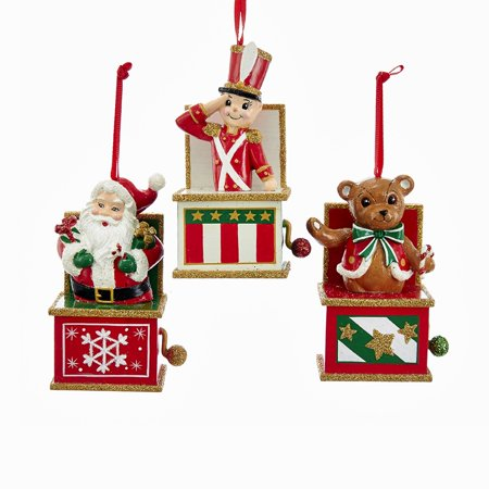 Xmas Jack - Pack of 6 Red, White and Green Santa, Bear and Soldier Jack in the Box Christmas Ornaments 4