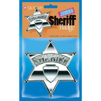 "Star Power Jumbo Police Sheriff Plastic Badge, Silver, 5""x4.5"""