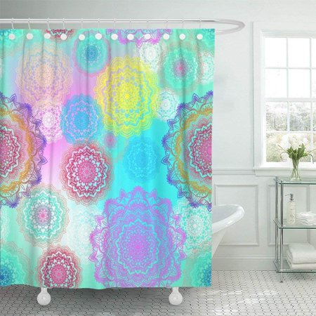 ARTJIA Blue Chakra Beautiful Colorful Mandala Flower Pattern on Pastel Color Rainbow Ethnic Pink Shower Curtain 66x72 inch