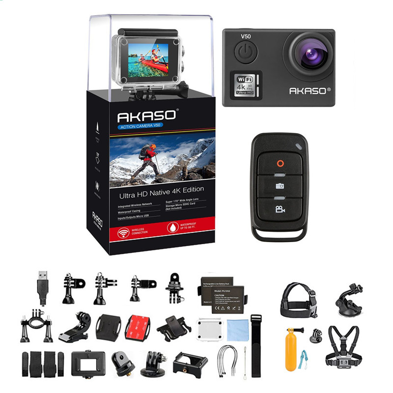 AKASO V50 Native 4K 20MP Wifi Sport Action Camera ,Ultra HD 20MP Sports Camcorder with EIS 30m Waterproof Camera ,170 Degree Adjustable Wide Angle Remote Action Camera + 7 in 1 Action Camera Accessory