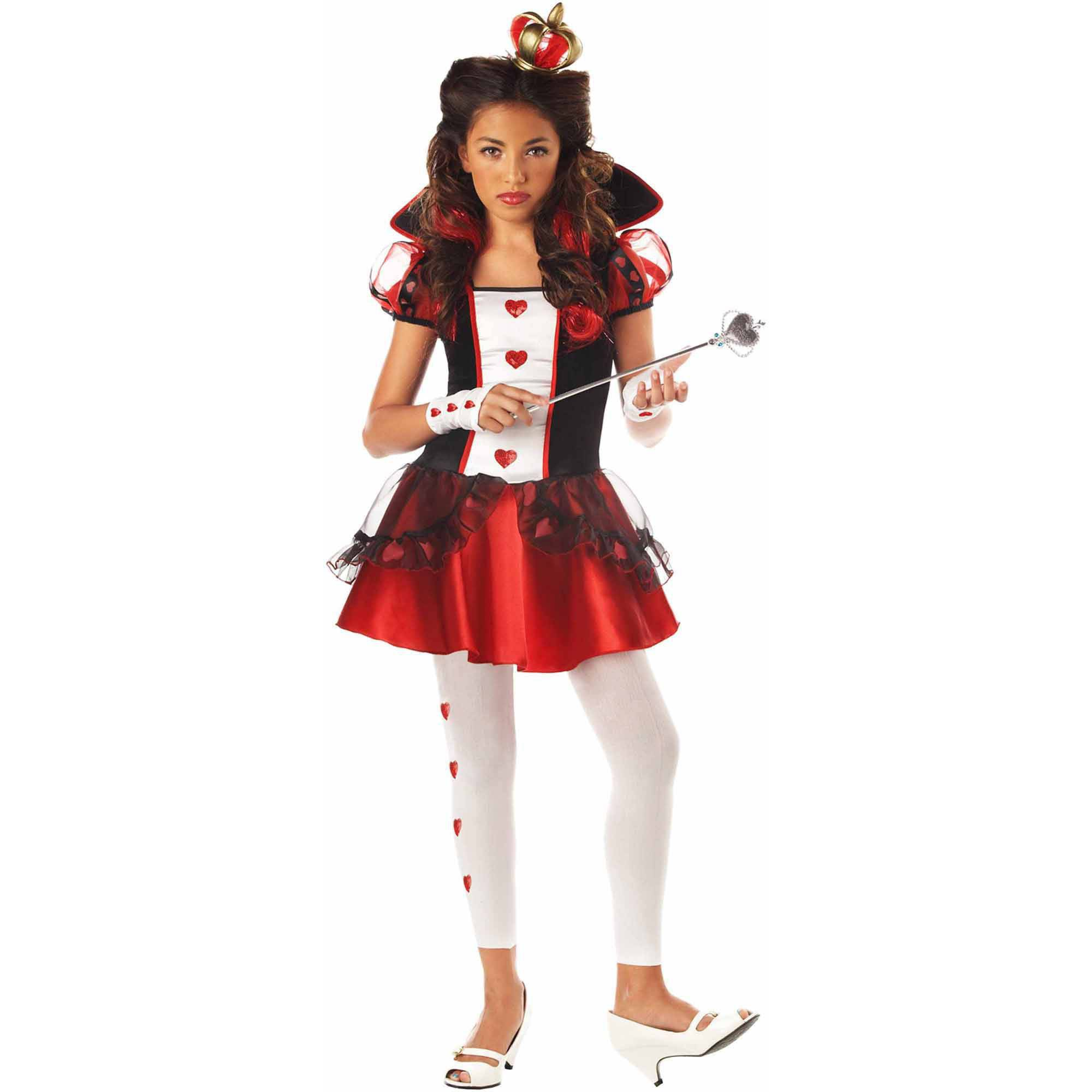 wonderlands queen of hearts girls' teen halloween costume - walmart