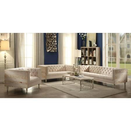 Beige Button Tufted Sofa Set 3pcs Wooden Panel Acme Furniture 52805 Portia