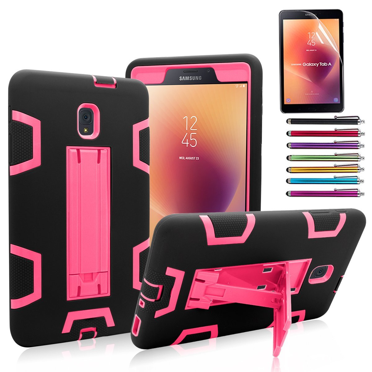 Galaxy Tab A 8.0 Case 2017,Mignova Heavy Duty rugged Hybrid Protective Case with Build In Kickstand For Galaxy Tab A 8.0 SM-T380/T385 (2017) + Screen Protector Film and Stylus Pen (Black)