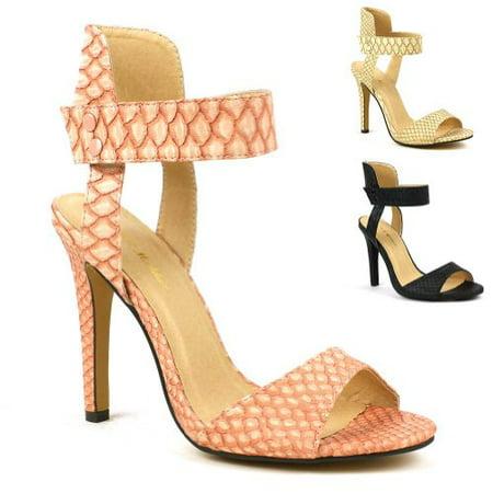 Vegan Reptile Open-Toe Ankle Cuff Sandal Heels