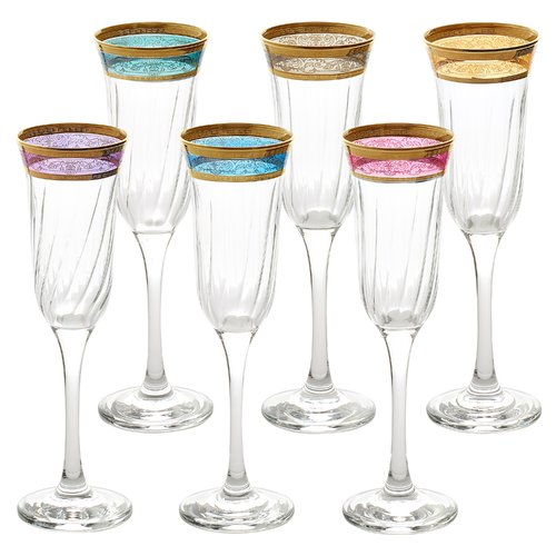 Lorren Home Trends Melania Glass 9 Oz. Champagne Flute (Set of 6)