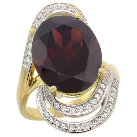 14k Yellow Gold 0.19ct Diamond Genuine Garnet Engagement Ring Oval 16x12mm 1 inch wide, size 9