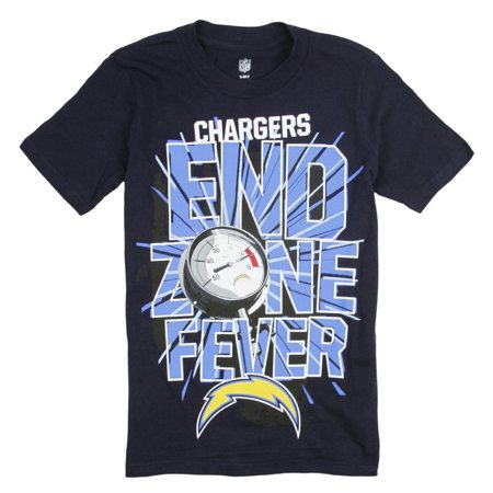 San Diego Chargers Vinyl - NFL Football Youth San Diego Chargers Short Sleeve End Zone Fever T-Shirt, Navy