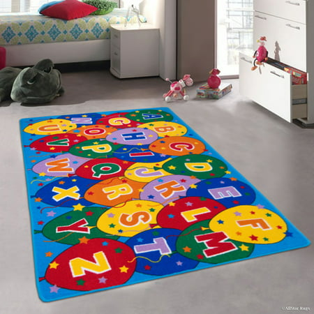 "Allstar Kids / Baby Room Area Rug. Learn ABC / Alphabet Letters Baloons. Bright Colorful Vibrant Colors (4' 11"" x 6' 11"")"