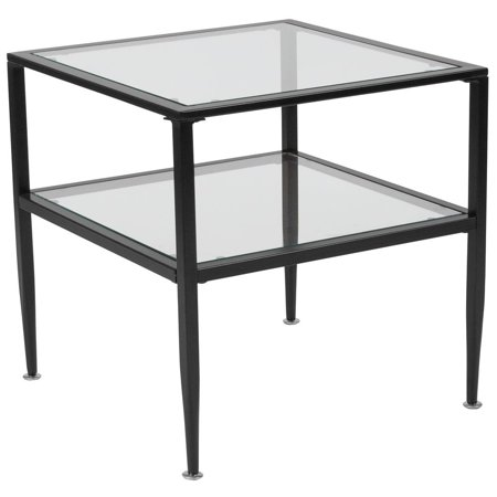 Glass Top Metal Finish - Glass End Table with Black Metal Frame