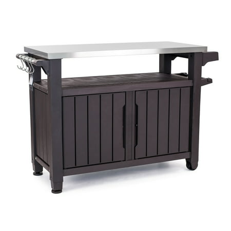 - Keter Unity XL Resin Serving Station, All-Weather Plastic and Metal Grill, Storage and Prep Table, 78 Gal, Brown
