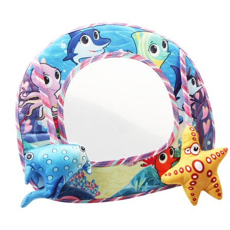 Mancro Baby Back Seat Car Mirrors, Rear View Baby Mirror, Rear Facing Mirror, Discover and Play Activity Mirror Shatterproof, Plush Animal Toy, Baby-in-Sight Watch Infant in Back Seat While Driving
