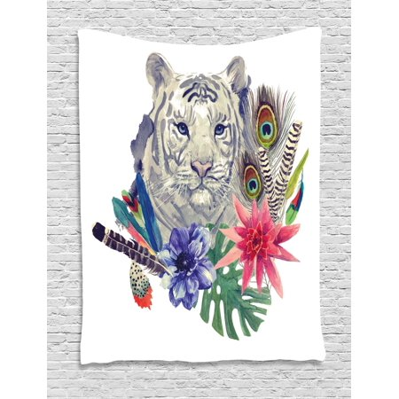 Tiger Tapestry, Retro Inspired Symbols Ethnic Montage with Contrasting Colors Anemone Majestic Feline, Wall Hanging for Bedroom Living Room Dorm Decor, Multicolor, by -