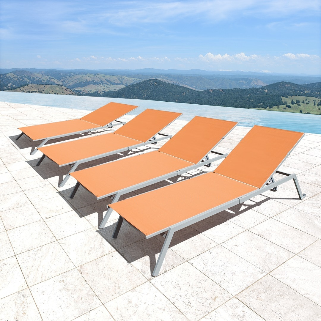 Corvus Torino Sling Fabric Reclining Outdoor Chaise Lounges (Set of 4) by Overstock