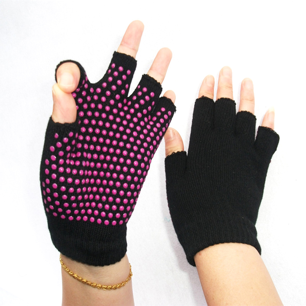 Unisex Yoga Sports Fingerless Gloves Pure Cotton Non Slip Half-finger Gloves