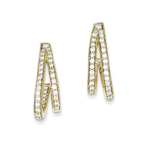 14k Yellow Gold Diamond Post Earrings. Carat Wt- 1.25ct (0.9IN x 0.3IN )