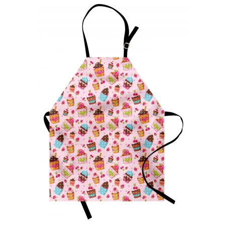 Pink Apron Kitchen Cupcakes Muffins Strawberries and Cherries Food Eating Sweets Print, Unisex Kitchen Bib Apron with Adjustable Neck for Cooking Baking Gardening, Pale Pink and Brown, by Ambesonne