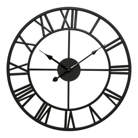 "18"" Black Metal Skeleton Vintage Quartz clock"
