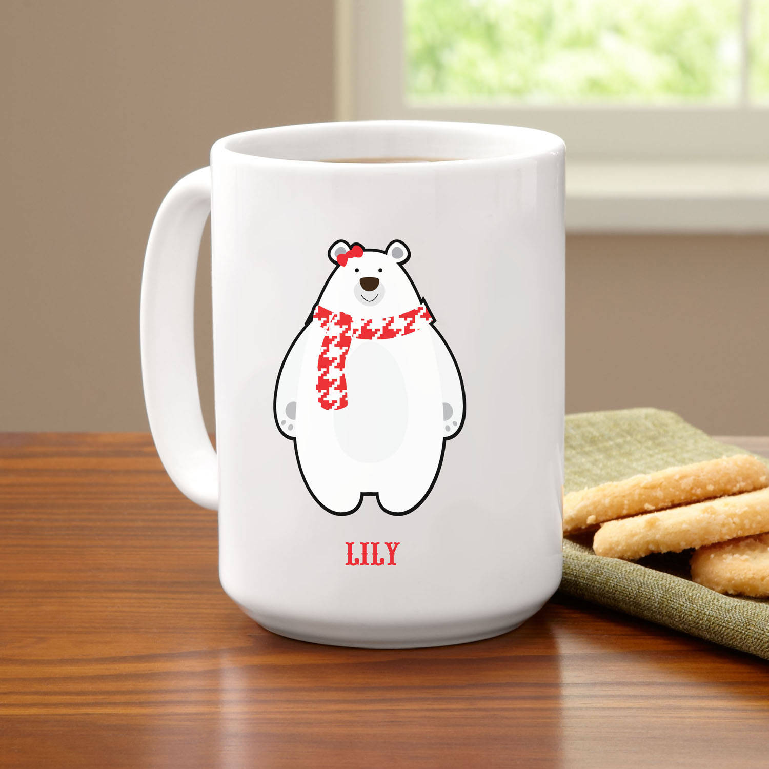 Personalized Pudgy Polar Bear Coffee Mug, 15 oz