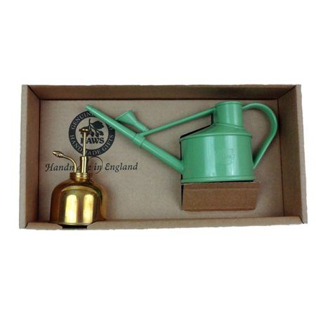 Haws Watering Cans Haws Spray n Sprinkle gift set with Sage Handy Watering Can & Brass Mister ()