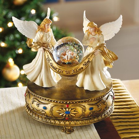 Musical Angels Christmas Holiday Snow Globe, Gold Tabletop Accent - Plays O Holy (Best Christmas Snow Globes)