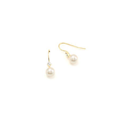 Gold Cream Pearl Dangle Earrings with Gold Hook Rhinestone Flower Accent