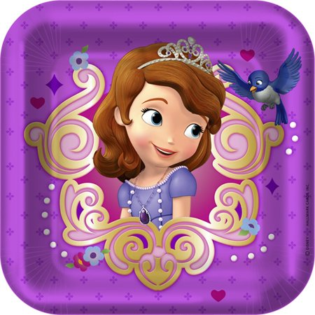 Disney Junior Sofia the First Square Dessert Plates - Sofia The First Table Cloth