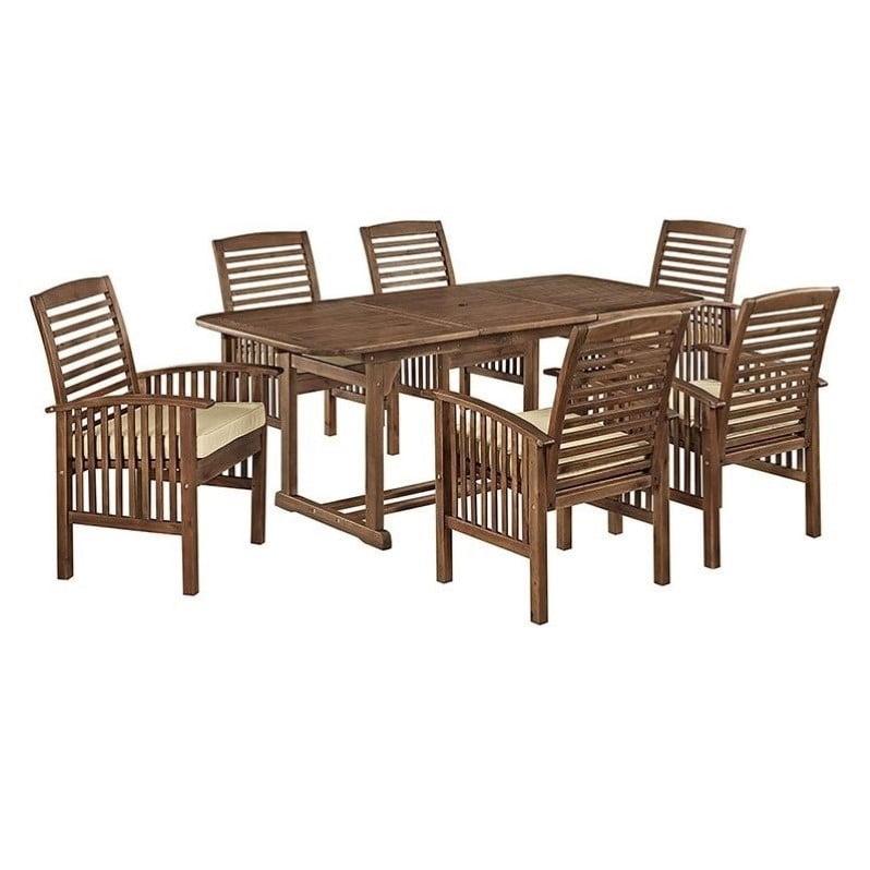Pemberly Row 7 Piece Acacia Patio Dining Set in Dark Brown - image 6 de 6