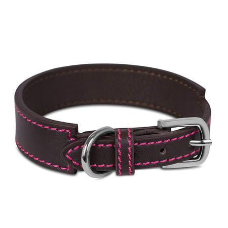 Internet's Best Brown Leather Dog Collar with Pink Stitching | Large | 14 – 18 Inch (1.375