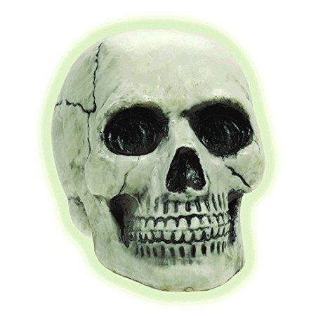 Amscan Haunted Mansion Halloween Party Glow In The Dark Skull Decoration, 8
