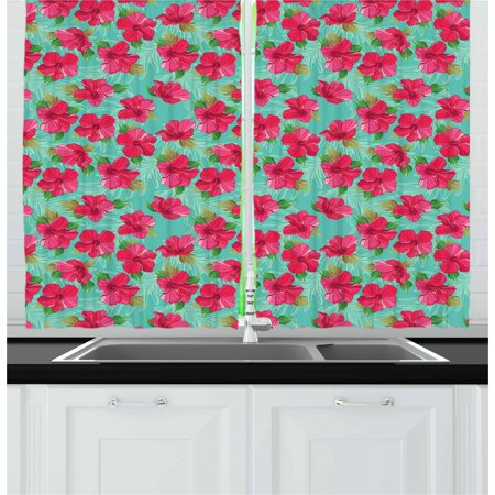 Hawaiian Curtains 2 Panels Set, Botanical Garden Pattern with Pink Hibiscus Blossoms Aloha Nature, Window Drapes for Living Room Bedroom, 55W X 39L Inches, Seafoam Magenta and Green, by Ambesonne