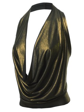 A2Y Women's Sexy Drape Front Deep V-Neck Cowl Neckline Halter Backless Party Club Top Neon Lime L