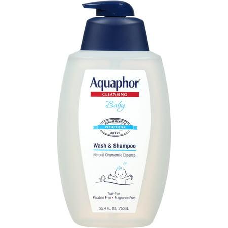 Aquaphor Baby Wash and Shampoo - Mild, Tear-free 2-in-1 Solution for Babyâ??s Sensitive Skin - 25.4 fl. oz. Pump 25.4 Fl. Oz (Pack of