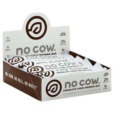 No Cow Protein Bar, Chocolate Fudge Brownie, 21g Plant Based Protein, Low Sugar, Dairy Free, Gluten Free, Vegan, High Fiber, Non-GMO, 12 Count