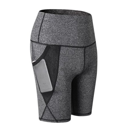 - Women High Waist Yoga Slant Pocket Quick-drying Tight-fitting Stretch Fitness Sports Shorts