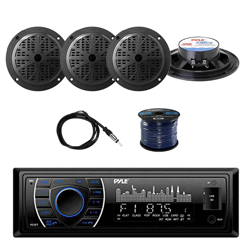 pyle plrmr27btb marine bluetooth receiver stereo black w. Black Bedroom Furniture Sets. Home Design Ideas