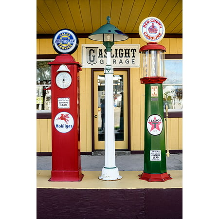 Peel-n-Stick Poster of Vintage Gas Pumps Refueling Service Retro Classic  Poster 24x16 Adhesive Sticker Poster Print