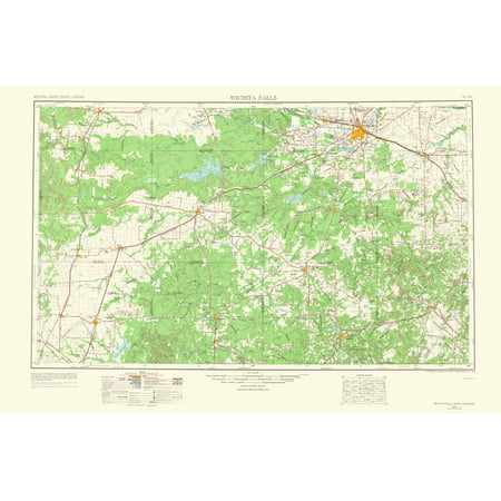 Old Topographical Map Print - Wichita Falls Texas, Oklahoma - USGS ...