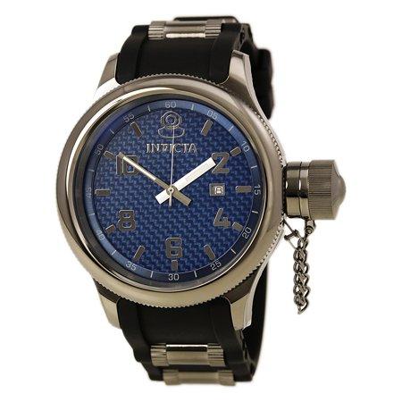 Invicta 0554 Men's Russian Diver Gun Metal IP Blue Dial Rubber Strap Watch