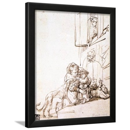 17th Century Framed Print - Woman with a Child Afraid of a Dog, 17th Century Framed Print Wall Art By Rembrandt van Rijn
